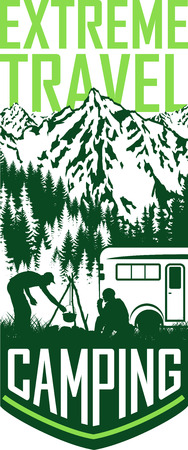 dangerous man: Vector camping travel flayer illustration