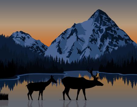 Vector blauwe ochtend in bergenmeer met paar herten Stock Illustratie