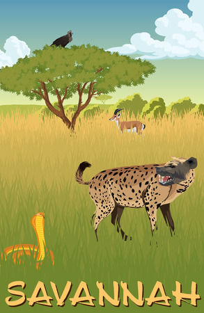 huge tree: African savannah with hyenna, cobra and gazelle - vector illustration