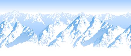 Seamless vector blue beautiful mountains panorama pattern Stock Illustratie