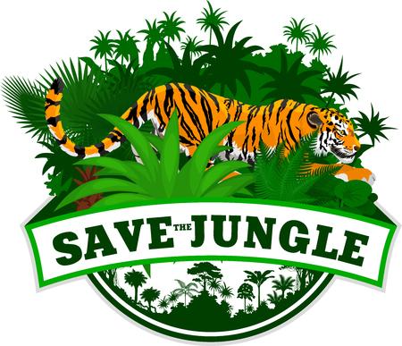 Vector Jungle Emblem with tiger Illustration