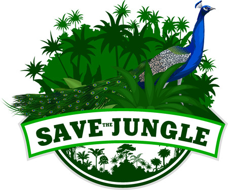 Vector Jungle Emblem with Peacock Peafowl Illustration