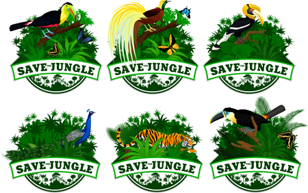 hornbill: save jungle emblems with animals set