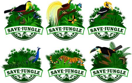 save jungle emblems with animals set Imagens - 82586949