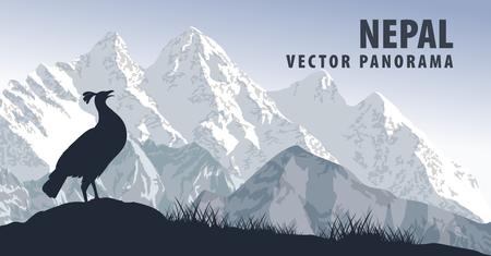 Vector panorama of Nepal with himalayan monal