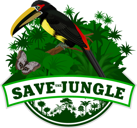 Vector Jungle Emblem with aracari toucanet and butterfly Illustration