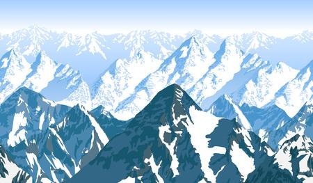 Naadloos vector blauw mooi bergen panorama patroon Stock Illustratie