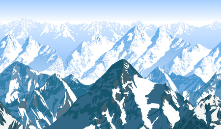 Seamless vector blue beautiful mountains panorama pattern Ilustração