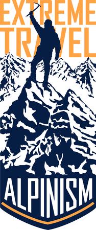 mountaineering: Vector alpinism mountaineering travel flayer illustration Illustration