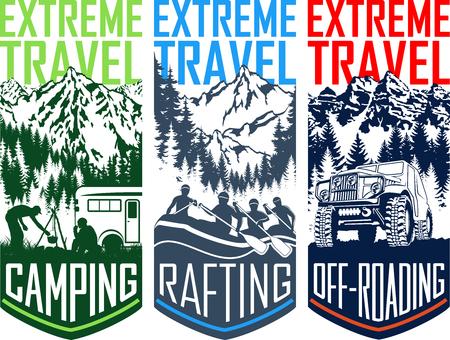 벡터 여행 flayer 일러스트 세트 - 캠핑, 4 x 4 off-roading 및 급류 래프팅