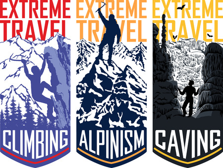 Set of vector travel flayer template illustration - caving, climbing, alpinism mountaineering Illustration
