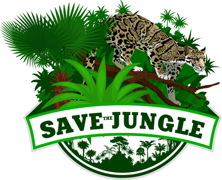 Save ungle Emblem with clouded leopard Stock Vector - 84110192