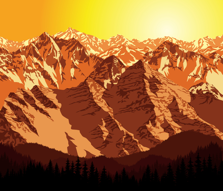 vector evening mountains landscape Illustration