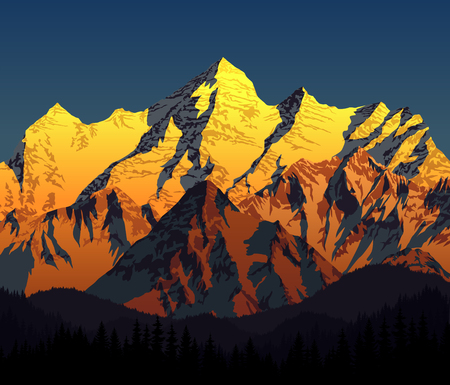 vista: Vector golden morning mountains landscape Illustration