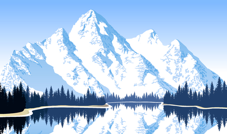 Vector illustration - lake in mountains Фото со стока - 84872437