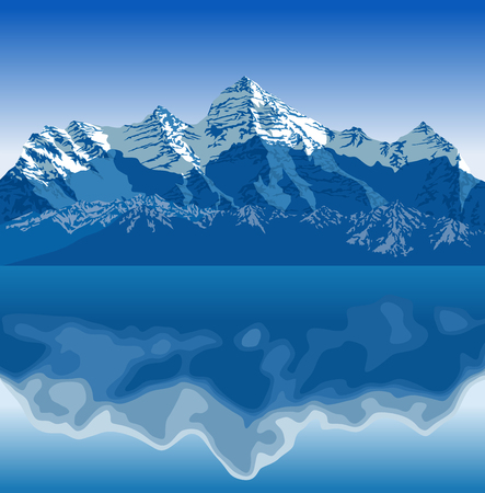 Vector illustration - sea and mountains