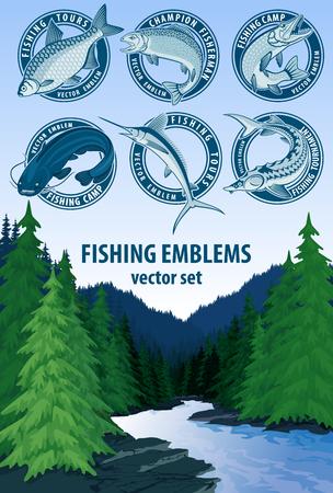 Vector set of fishing emblems logo labels.