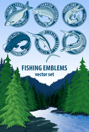 Vector set of fishing emblems logo labels.