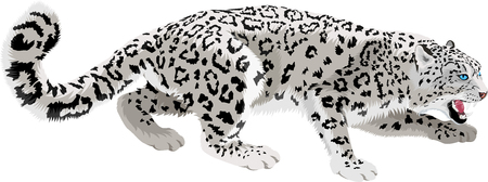 vector mountains snow leopard Ilustrace