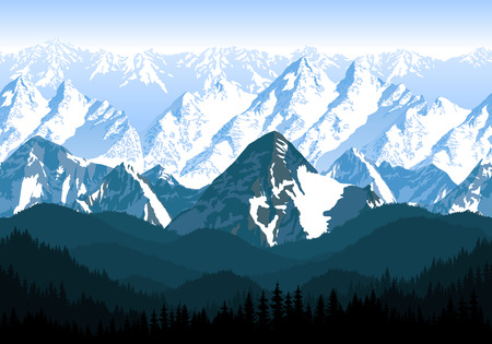 seamless vector blue beautiful mountains with forest panorama pattern Illustration
