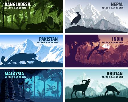 Vector panorama of Bangladesh, Pakistan, Bhutan, Nepal, India and Malaysia with animals.