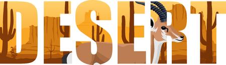 gobi: vector desert word with gazelle illustartion