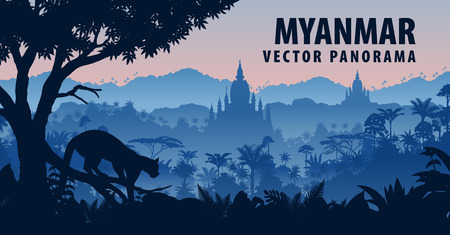 vector panorama of Myanmar with clouded leopard in jungle rainforest Çizim