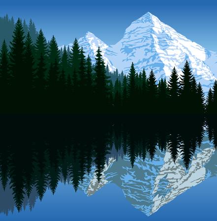Vector illustration - lake in mountains Illustration
