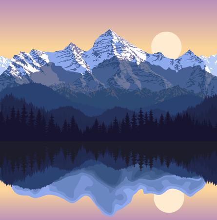 Vectorillustratie - meer in bergen Vector Illustratie