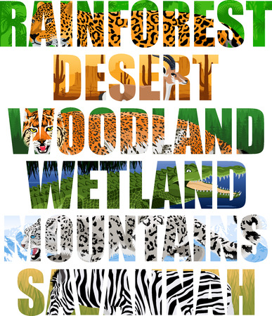Landscapes lettering with animals illustration. Stock Vector - 86805391