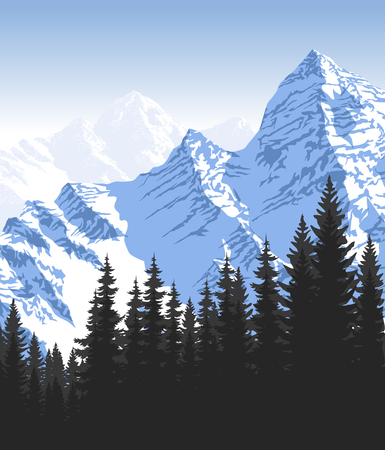 Morning in beautiful mountains Illustration