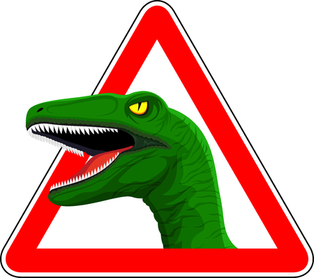 vector sign with raptor dinosaur illustration