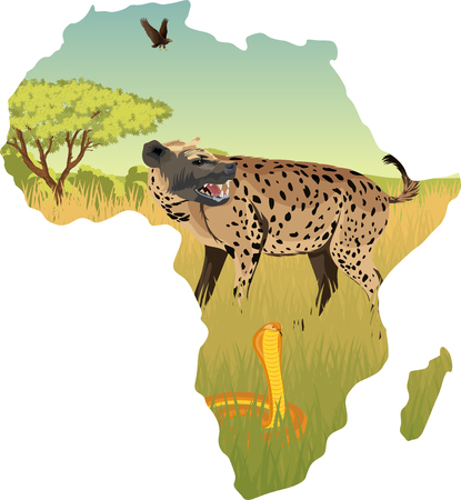 African savannah with hyenna, cobra and eagle - vector illustration