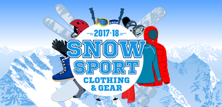 Snow sport gear store emblem with type design and clothing and equipment.