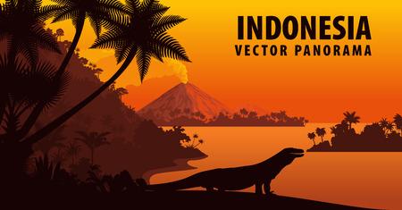 インドネシアのコモド ドラゴン ベクトル パノラマ  イラスト・ベクター素材
