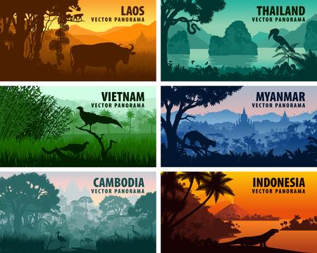 라오스, 베트남, 캄보디아, 태국, 미얀마, 인도네시아의 벡터 파노라마