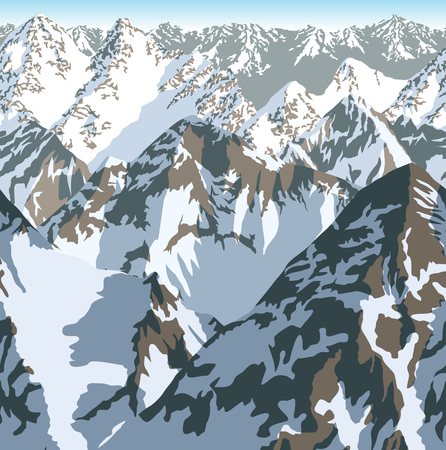 Vector Himalaya alps mountains background texture seamless pattern.