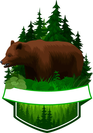 Vector woodland emblem with brown grizzly bear 向量圖像
