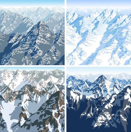 vector Himalaya alps mountains background texture seamless pattern Illustration