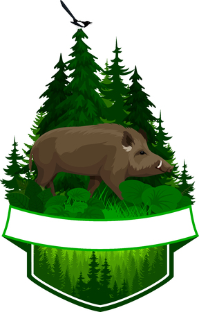 vector woodland emblem with wild boar and magpie