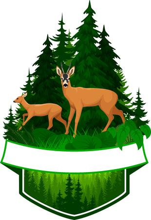 vector woodland emblem with roe deers Stock Illustratie