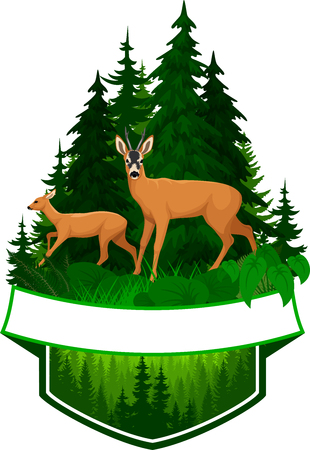 vector woodland emblem with roe deers Vettoriali