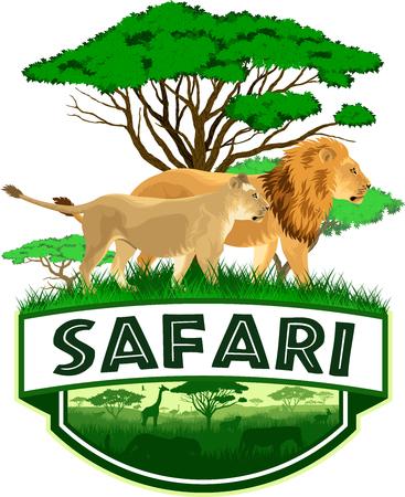 Vector African Savannah emblem with lions