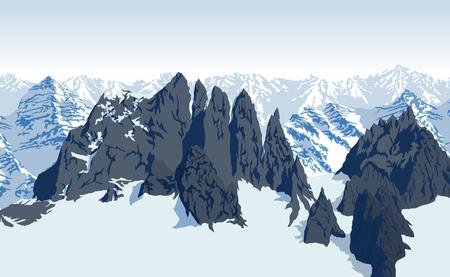 vector Himalaya alps mountains background Illustration