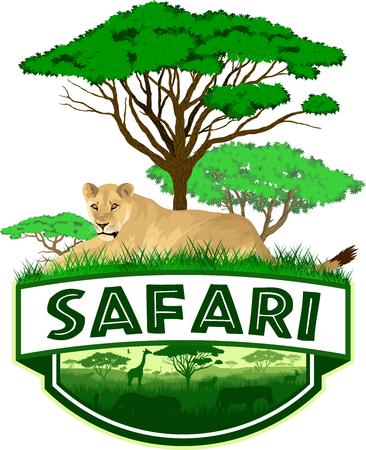 African Savannah safari emblem with lioness Vectores