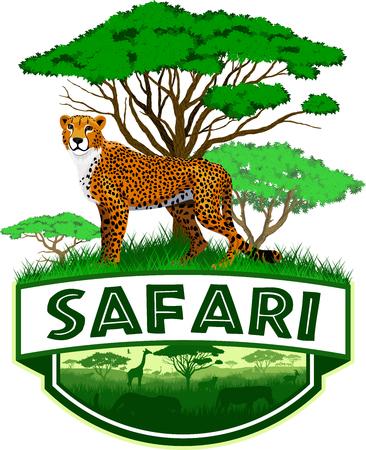 African Savannah emblem with cheetah, vector illustration.