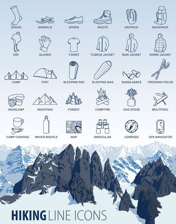 vector set of thin line hiking camping travel Icons with mountains background Иллюстрация