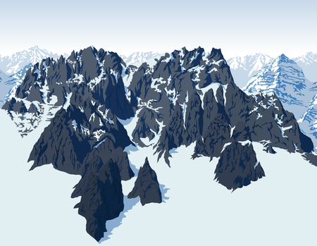 vector alps mountains background Illustration