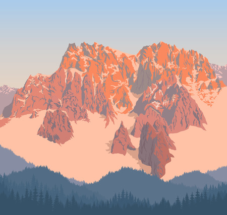 Morning in beautiful mountains. Illustration