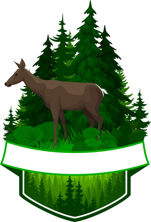 vector woodland emblem with deer